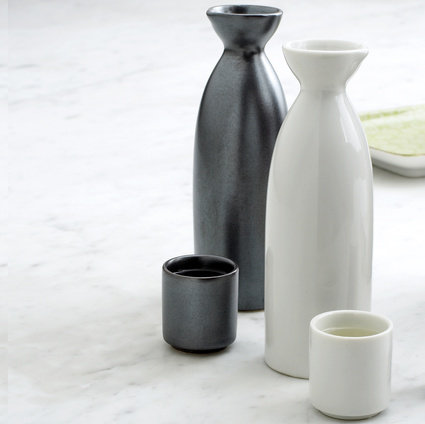 Japanese Ceramic Sake Flask and Cups