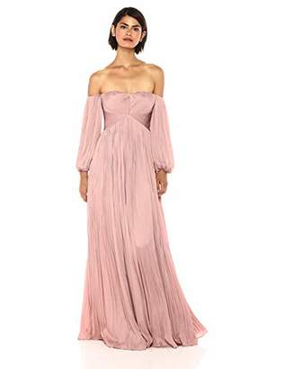 Halston Women's Off Shoulder Sweetheart Neck Pleated Gown