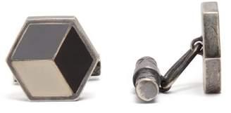 Bottega Veneta Tri Colour Sterling Silver Hexagon Cufflinks - Mens - Silver Multi