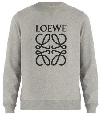 Loewe Logo Embroidered Cotton Jersey Sweatshirt - Mens - Grey