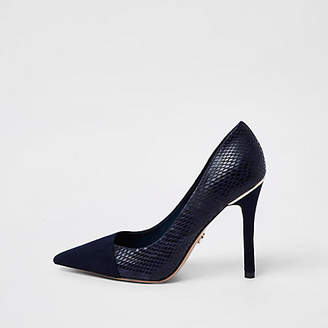 River Island Navy croc wrap around pumps