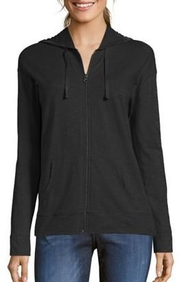 Hanes Women's Slub Jersey Cotton Full Zip Hoodie