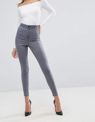Asos DESIGN rivington high waisted jeggings in smokey gray wash