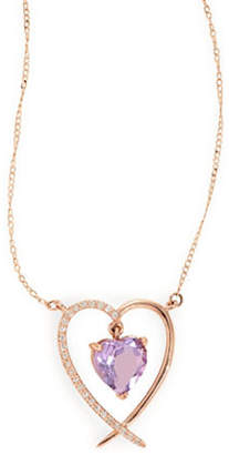 Tag Heuer FINE JEWELLERY 14k Rose Gold Amethyst and Diamond Heart Necklace