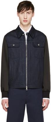 Neil Barrett Indigo Denim Combination Jacket $1,500 thestylecure.com