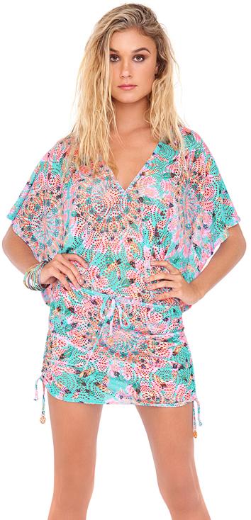 Luli Fama - Dream Catcher Cabana V-Neck Dress in Multicolor (L472976)