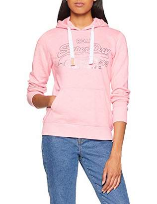 Superdry Women's Vintge Logo Metalic Otlne Hood Jumper, (Neon Pink Grit Zaq), (Size: 10.0)