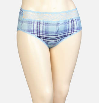 Avenue Plaid Microfiber Brief Panty with Lace