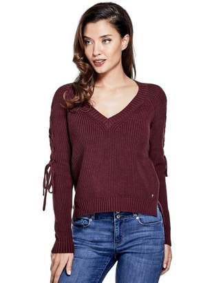 Factory Guess Women's Nova Lace-Up Sleeve Sweater
