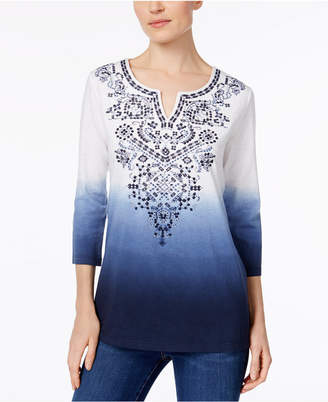 JM Collection Dip-Dyed Embroidered Tunic, Created for Macy's