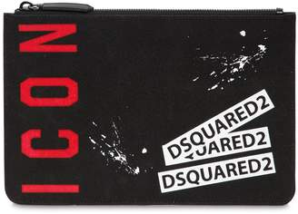 DSQUARED2 Icon Printed Waxed Denim Small Pouch