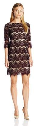 Jessica Howard Women's Petite 3/4 Sleeve Shift Lace Dress