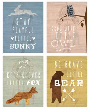 Children Inspire Design 4 Piece Inspirational Animals Paper Print Set