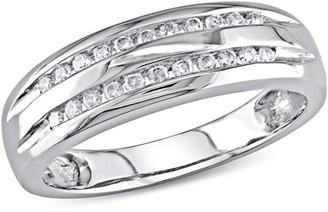 Miabella 1/6 Carat T.W. Double-Row Diamond 10kt White Gold Wedding Band