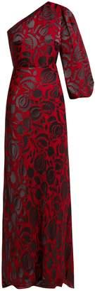 Saloni Lily Budapest asymmetric floral devoré gown