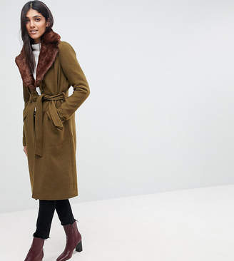 Vero Moda Tall Long Wool Coat With Faux Fur Collar