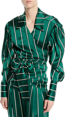 Maggie Marilyn Wrap It Up Striped Silk Long-Sleeve Shirt