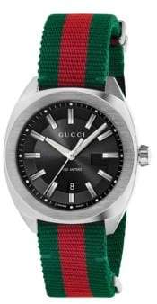 Gucci Stainless Steel& Nylon Web Watch