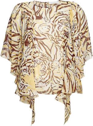 See by Chloe Silk Tiger Print Draped Sleeve Blouse