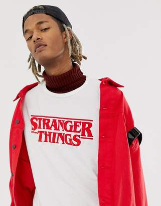 Pull&Bear X Stranger Things logo t-shirt in white