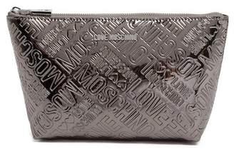 Love Moschino Metallic Embossed Logo Zip Pouch