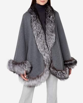 N.Peal Fox Trim Knitted Cape