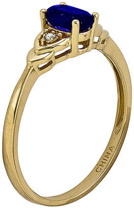 FINE JEWELRY Genuine Blue Sapphire and Diamond-Accent 14K Yellow Gold Ring