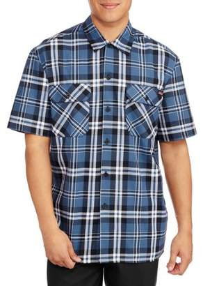 Dickies Big Men's Short Sleeve Two Pocket Plaid Workshirt