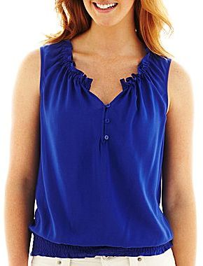 JCPenney a.n.a® Ruffle-Neck Sleeveless Top