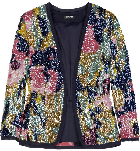 DKNY Sequined silk-blend cardigan