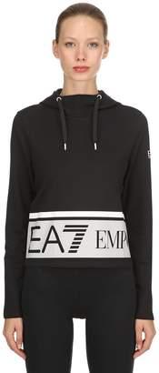 Emporio Armani Ea7 Train Master Cotton Cropped Sweatshirt