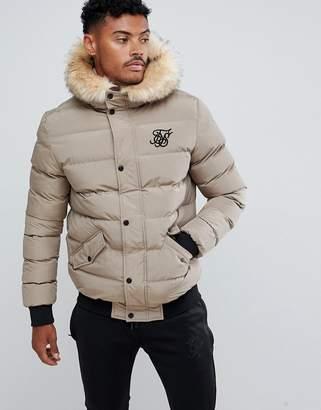 SikSilk puffer jacket with faux fur hood in beige