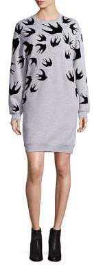 McQ Cotton Swallow-Print Sweatshirt Dress