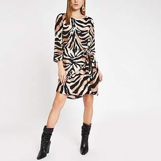 River Island Brown zebra print tie front swing dress