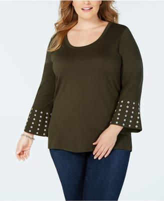 Michael Kors Plus Size Studded Flounce-Sleeve Top