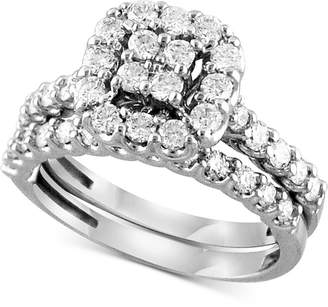 Macy's Diamond Square Halo Bridal Set (1 ct. t.w.) in 14k White Gold