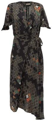 Preen Line Bessara Geometric Print Wrap Dress - Womens - Black Multi