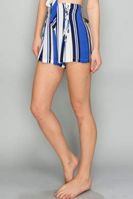 AAKAA Striped Lace Up Short