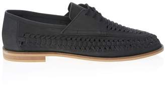 Office Mens Woven Leather Loafers - Black