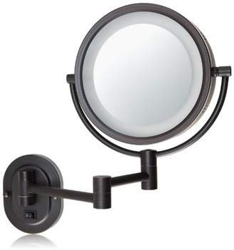 Jerdon HL65BZD 8-Inch Lighted Direct Wire Wall Mount Makeup Mirror with 5x Magnification