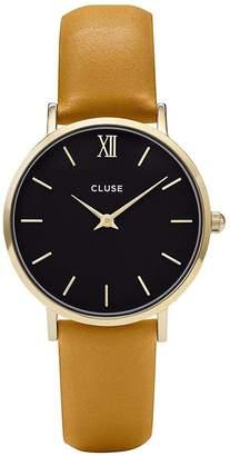 Cluse Women's Minuit 33mm Mustard Leather Band Metal Case Quartz Watch CL30035