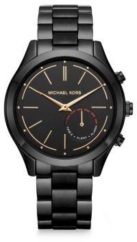 Michael Kors Michael Kors Access Slim Runway Black IP Stainless Steel Hybrid Smartwatch $250 thestylecure.com
