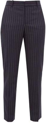 Bella Freud Rocker Chalk Striped Tapered Wool Tuxedo Trousers - Womens - Navy Stripe