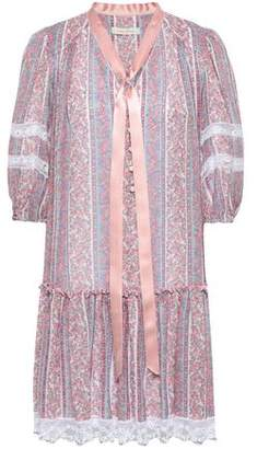 Marc Jacobs Lace And Satin-trimmed Printed Cotton And Silk-blend Mini Dress