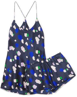 Olivia von Halle - Bella Printed Silk-satin Pajama Set - Navy