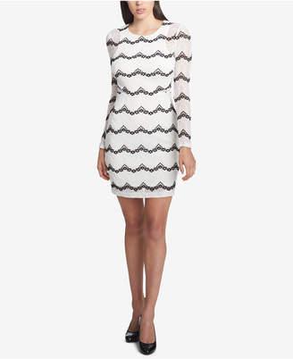 GUESS Long-Sleeve Illusion Lace Dress