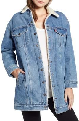 Levi's Long Faux Shearling Denim Jacket