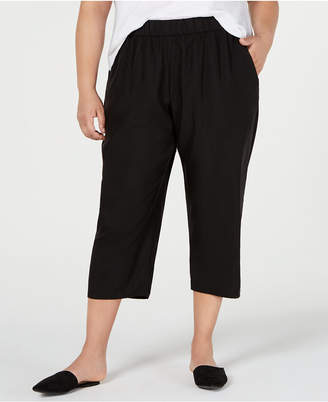 Eileen Fisher Plus Size Tencel Polyester Cropped Slouchy Pants