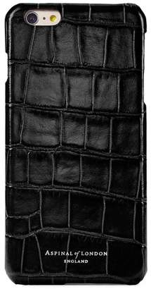Aspinal of London Iphone 7/8 Leather Cover In Deep Shine Black Croc Black Suede