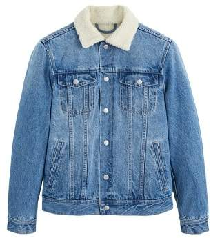 Mango Man MANGO MAN Faux shearling lining denim jacket